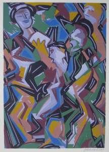 Die Leser, Farblinolschnitt, 24 x 34 cm, 2009
