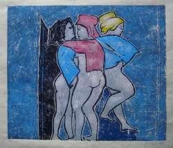 Im Bad, Farbholzschnitt,47 x 39 cm, Auflage 5 Exemplare, 2006