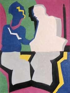 Gespräch, Öl auf Leinwand, 100 x70 cm