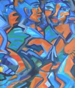 Tanzendes Paar, Acryl auf Leinwand, 45 x 60 cm, 2001